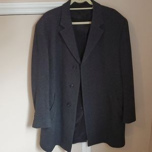 JoS A Bank grey wool topcoat 44s EUC